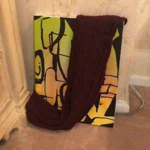 Ralph Lauren Knitted Long Maroon Scarf